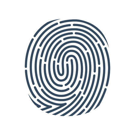O letter line icon. Vector fingerprint design. Detective, Audit or Biometric access control system. Zdjęcie Seryjne - 95351719