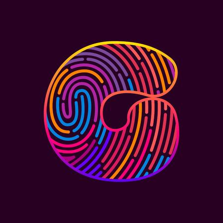 Letter G line icon vector fingerprint design template elements. Detective, audit or biometrics access control system.