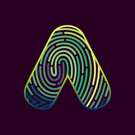 Letter A line icon vector fingerprint design template elements. Detective, audit or biometrics access control system.