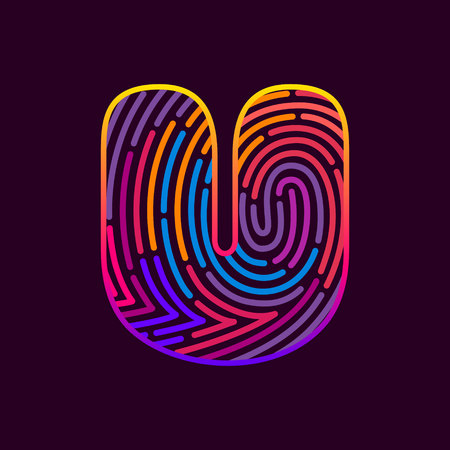 Letter U line icon vector fingerprint design template elements. Detective, audit or biometrics access control system.