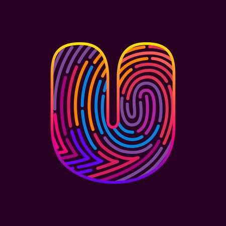 Letter U line icon vector fingerprint design template elements. Detective, audit or biometrics access control system.