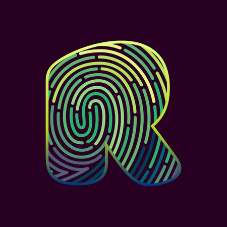 Letter R line icon vector fingerprint design template elements. Detective, audit or biometrics access control system. Stok Fotoğraf - 95314024