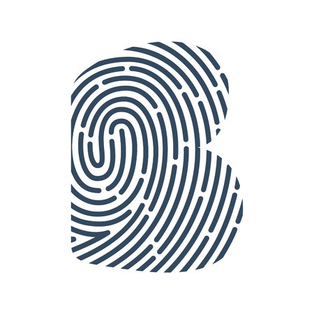 B letter line icon. Vector fingerprint design. Detective, Audit or Biometric access control system.