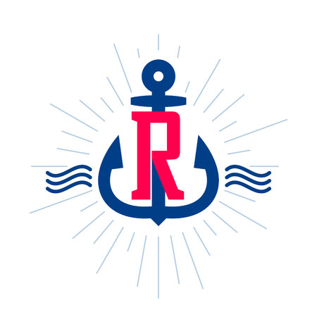 R letter logo. Anchor and rope vector vintage label, logo, icon design template element. This badge can be used as a trademark or a print on fabric.