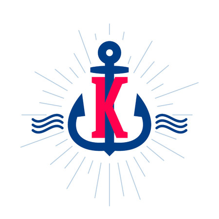 K letter logo. Anchor and rope vector vintage label, logo, icon design template element. This badge can be used as a trademark or a print on fabric. Illustration