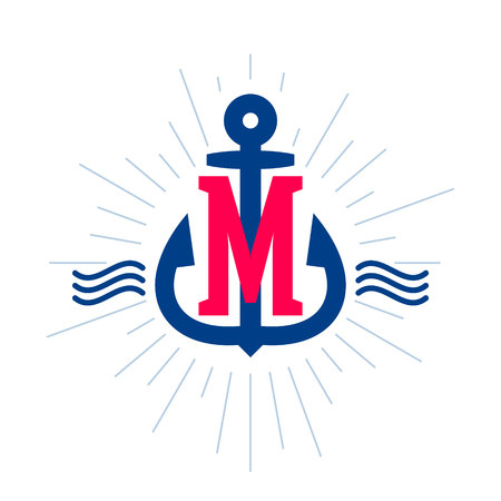M letter logo. Anchor and rope vector vintage label, logo, icon design template element. This badge can be used as a trademark or a print on fabric.