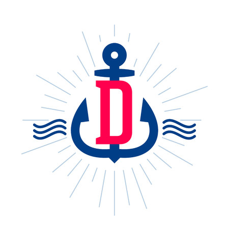 D letter logo. Anchor and rope vector vintage label, logo, icon design template element. This badge can be used as a trademark or a print on fabric.
