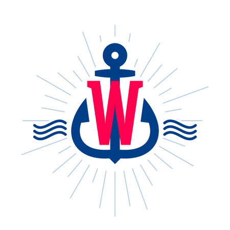 W letter logo. Anchor and rope vector vintage label, logo, icon design template element. This badge can be used as a trademark or a print on fabric.