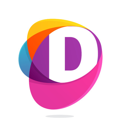 D letter with ellipses intersection logo. Abstract trendy multicolored vector design template elements for your application or corporate identity. Illustration