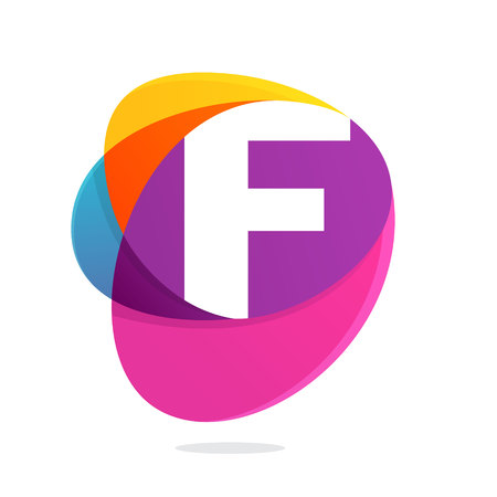 F letter with ellipses intersection logo. Abstract trendy multicolored vector design template elements for your application or corporate identity.