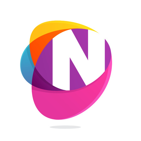 N letter with ellipses intersection logo. Abstract trendy multicolored vector design template elements for your application or corporate identity.