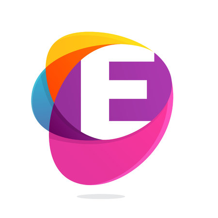 E letter with ellipses intersection logo. Abstract trendy multicolored vector design template elements for your application or corporate identity.