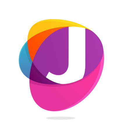 J letter with ellipses intersection logo. Abstract trendy multicolored vector design template elements for your application or corporate identity.
