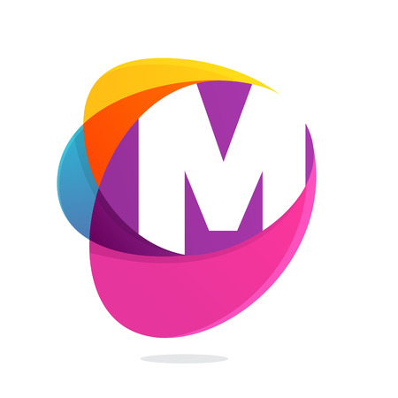 M letter with ellipses intersection logo. Abstract trendy multicolored vector design template elements for your application or corporate identity.