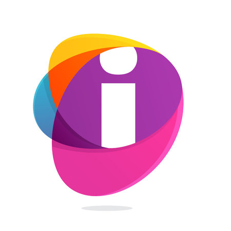 Letter I with ellipses intersection logo. Abstract trendy multicolored vector design template elements for your application or corporate identity.