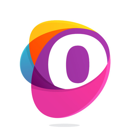 O letter with ellipses intersection logo. Abstract trendy multicolored vector design template elements for your application or corporate identity. Illustration