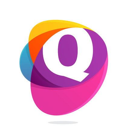Q letter with ellipses intersection logo. Abstract trendy multicolored vector design template elements for your application or corporate identity.