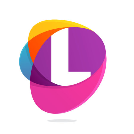 L letter with ellipses intersection logo. Abstract trendy multicolored vector design template elements for your application or corporate identity.