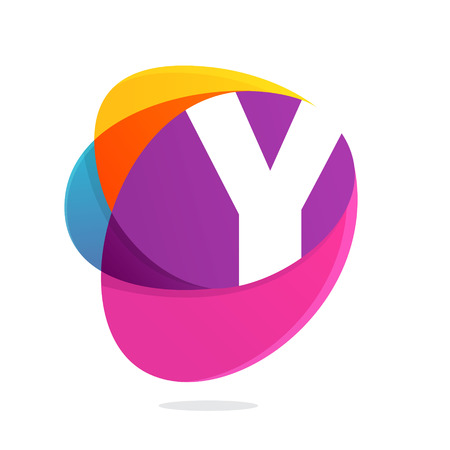 Y letter with ellipses intersection logo. Abstract trendy multicolored vector design template elements for your application or corporate identity.