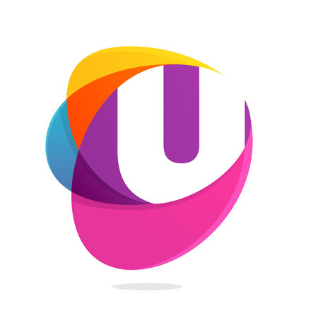 U letter with ellipses intersection logo. Abstract trendy multicolored vector design template elements for your application or corporate identity. Illustration