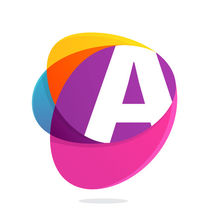 Letter A with ellipses intersection logo. Abstract trendy multicolored vector design template elements for your application or corporate identity. Illustration