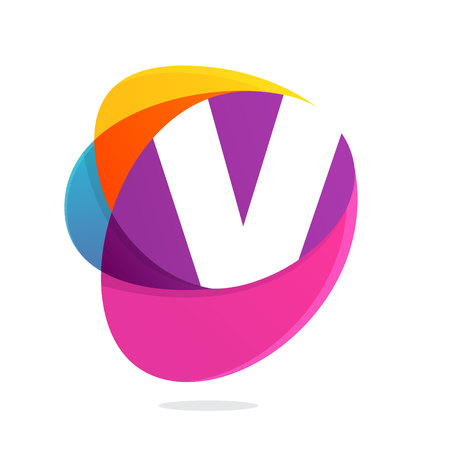 V letter with ellipses intersection logo. Abstract trendy multicolored vector design template elements for your application or corporate identity.