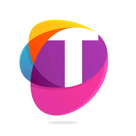 T letter with ellipses intersection logo. Abstract trendy multicolored vector design template elements for your application or corporate identity. Illustration