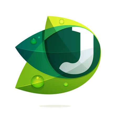 J letter with green leaves and dew drops. Vector design template elements for your application or corporate identity.