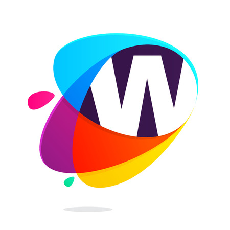 W letter with ellipses intersection logo. Abstract trendy multicolored vector design template elements for your application or corporate identity.