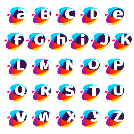 Alphabet letters with ellipses intersection logo. Abstract trendy multicolored vector design template elements for your application or corporate identity.