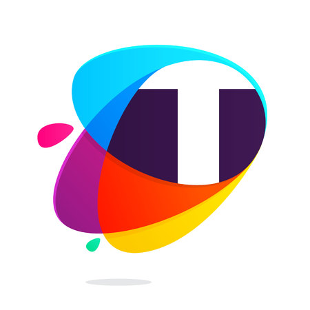 T letter with ellipses intersection logo. Abstract trendy multicolored vector design template elements for your application or corporate identity. Ilustrace