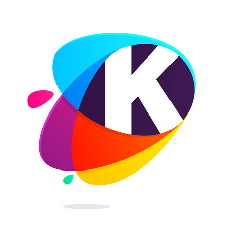 K letter with ellipses intersection logo. Abstract trendy multicolored vector design template elements for your application or corporate identity.