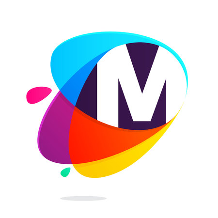 M letter with ellipses intersection logo. Abstract trendy multicolored vector design template elements.