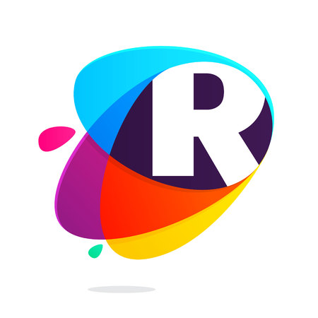 R letter with ellipses intersection logo. Abstract trendy multicolored vector design template elements