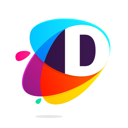 D letter with ellipses intersection logo. Abstract trendy multicolored vector design template elements for your application or corporate identity.  イラスト・ベクター素材
