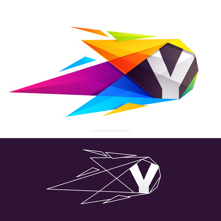 Y letter logo with polygonal comet. Abstract low poly multicolored vector design template elements Illustration