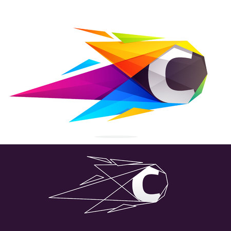 C letter logo with polygonal comet. Abstract low poly multicolored vector design template elements Illustration