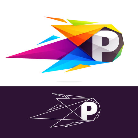 P letter logo with polygonal comet. Abstract low poly multicolored vector design template elements for your application or corporate identity.