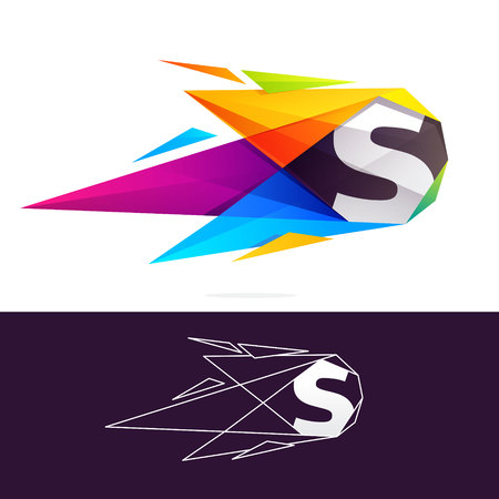 S letter logo with polygonal comet. Abstract low poly multicolored vector design template elements for your application or corporate identity.