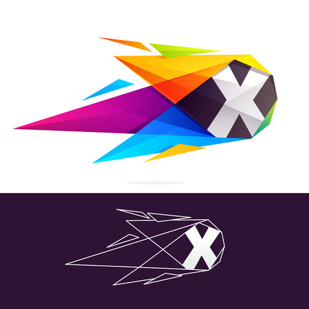 X letter logo with polygonal comet. Abstract low poly multicolored vector design template elements for your application or corporate identity. Illustration