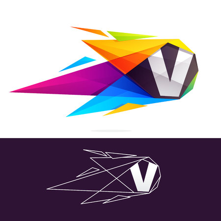V letter logo with polygonal comet. Abstract low poly multicolored vector design template elements Illustration