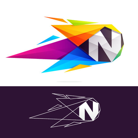 N letter logo with polygonal comet. Abstract low poly multicolored vector design template elements for your application or corporate identity.