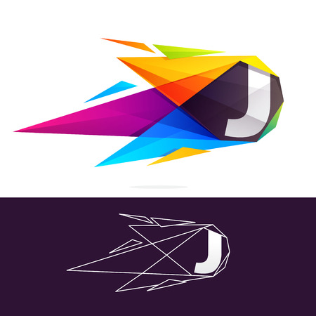 J letter logo with polygonal comet. Abstract low poly multicolored vector design template elements for your application or corporate identity. Illustration