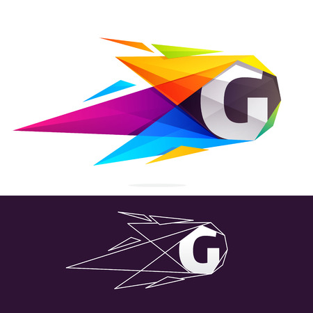 G letter logo with polygonal comet. Abstract low poly multicolored vector design template elements for your application or corporate identity.