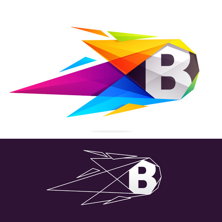B letter logo with polygonal comet. Abstract low poly multicolored vector design template elements for your application or corporate identity.