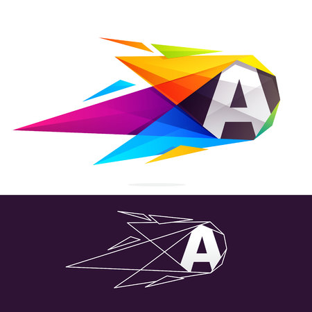 Letter A logo with polygonal comet. Abstract low poly multicolored vector design template elements for your application or corporate identity. Illustration
