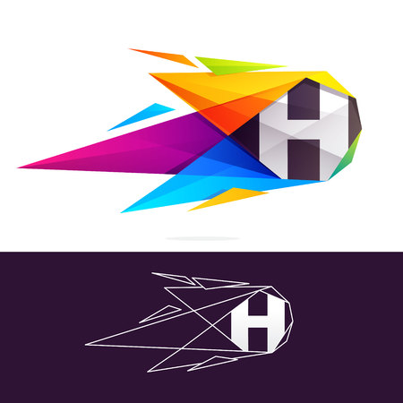 H letter logo with polygonal comet. Abstract low poly multicolored vector design template elements