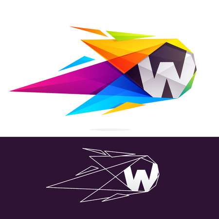 W letter logo with polygonal comet. Abstract low poly multicolored vector design template elements for your application or corporate identity. Illustration