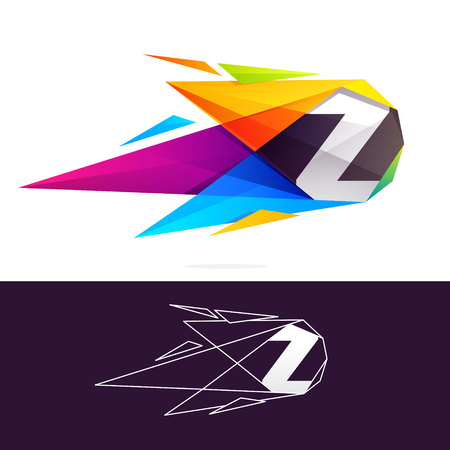 Z letter logo with polygonal comet. Abstract low poly multicolored vector design template elements for your application or corporate identity.
