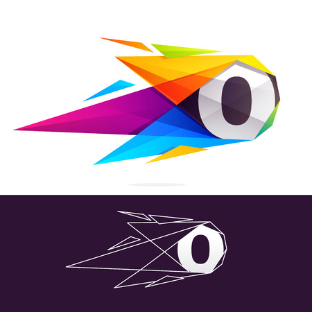 O letter logo with polygonal comet. Abstract low poly multicolored vector design template elements for your application or corporate identity. Ilustrace